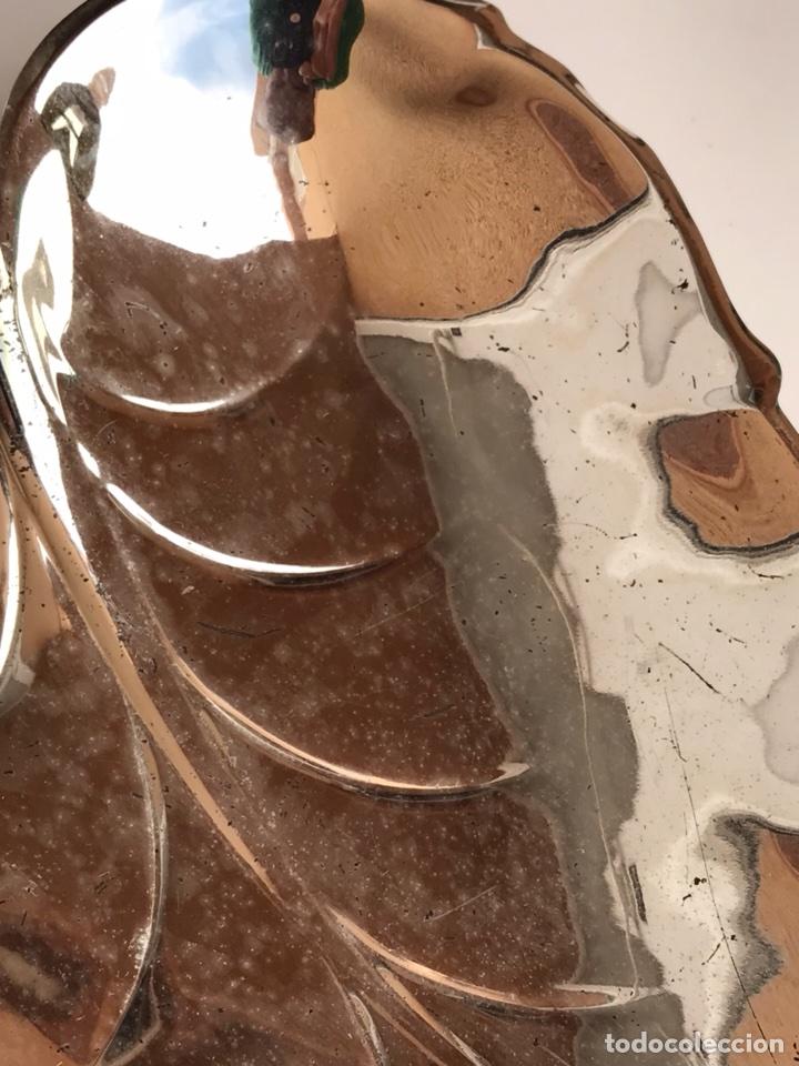Antigüedades: BANDEJA DE ALPACA EN FORMA DE HOJA - Foto 3 - 107090944