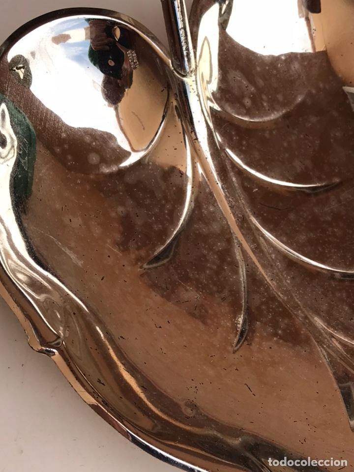 Antigüedades: BANDEJA DE ALPACA EN FORMA DE HOJA - Foto 4 - 107090944