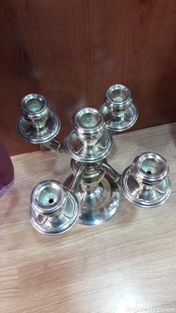 Antigüedades: Candelabro de 5 luces en metal plateado. - Foto 3 - 107118727