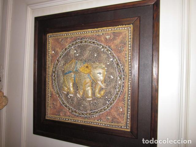Antigüedades: cuadro tapiz de la india elefante hecho artesanalmente - Foto 3 - 107209427