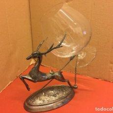 Antiquitäten - Precioso ciervo calientacopas cognac Calentador de copas, antiguo en alpaca plateada, copa tallada - 107251103