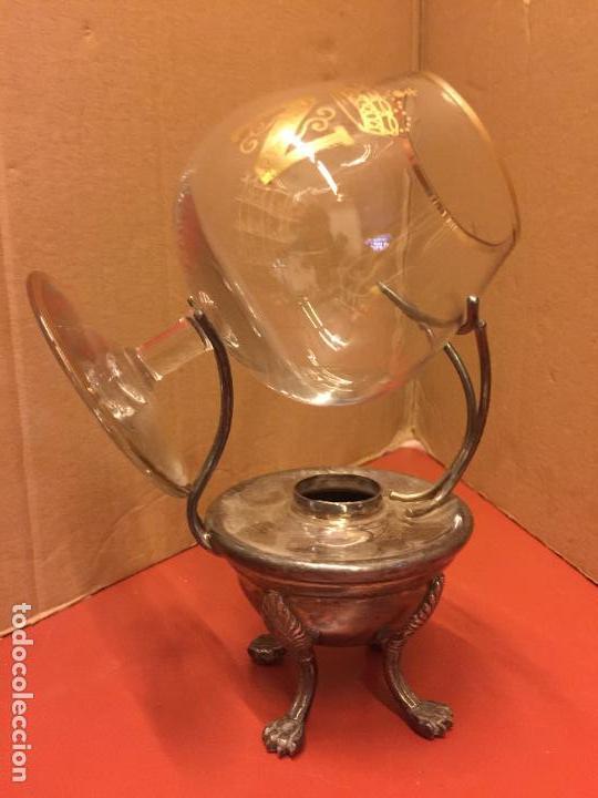 Antiquitäten: Precioso calientacopas - Calentador de copas de cognac , antiguo en alpaca plateada, con su copa - Foto 8 - 107253415