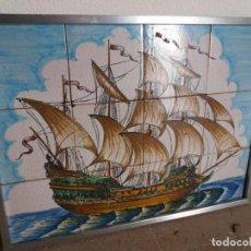 Antigüedades: CUADRO AZULEJO ANTIGUO BARCO. Lote 107264991