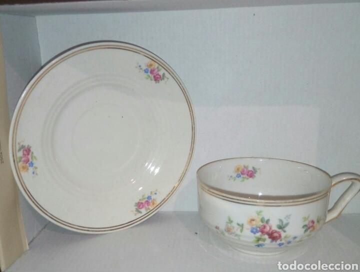 TAZA Y PLATO PORCELANA (Antigüedades - Porcelanas y Cerámicas - Otras)