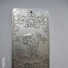 Antigüedades: LINGOTE DEL HOROSCOPO CHINO - BUEY - EN PLATA ORIENTAL DEL TIBET. 130 GRAMOS. . Lote 107432487