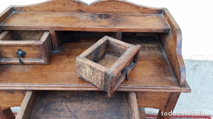 Antigüedades: Consola antigua estilo colonial. Mueble auxiliar secreter antiguo. Mesa auxiliar estilo rústico - Foto 7 - 107466515