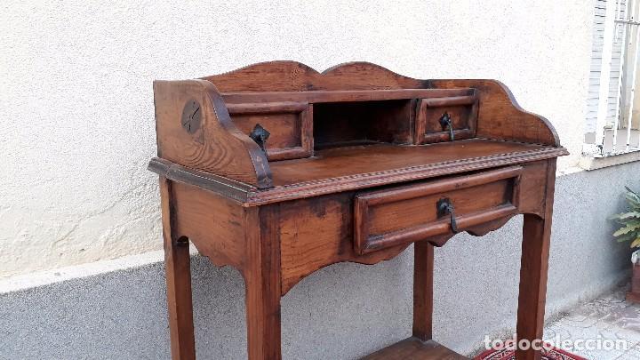 Antigüedades: Consola antigua estilo colonial. Mueble auxiliar secreter antiguo. Mesa auxiliar estilo rústico - Foto 9 - 107466515