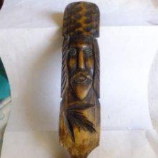 Antigüedades: CUCHARÓN O CUCHARA CON CARA DE TALLA ,ARTESANÍA PASTORIL . Lote 107468011