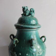Antigüedades: JARRON TINAJA EN CERAMICA CHINA CELADON CON TAPA PERRO FOO. Lote 107512639