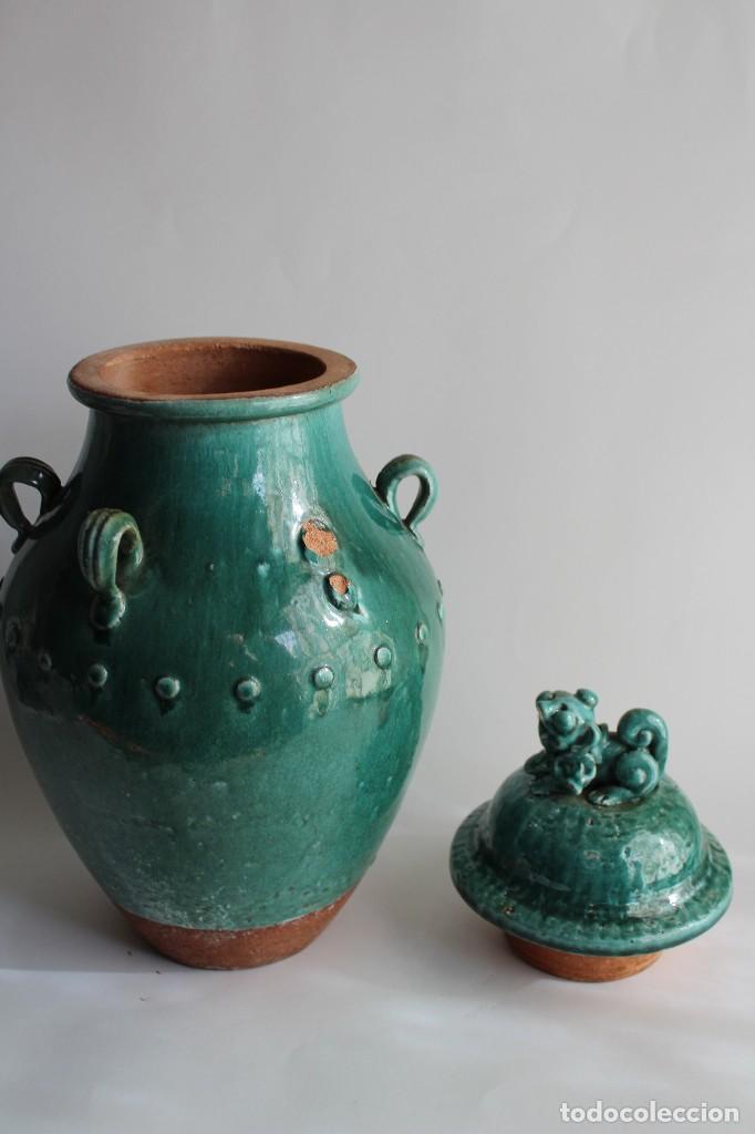 Antigüedades: JARRON TINAJA EN CERAMICA CHINA CELADON CON TAPA PERRO FOO - Foto 3 - 107512639