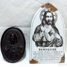 Antigüedades: ANTIGUO SAGRADO CORAZÓN DE JESÚS O BENDECIRÉ DE BAQUELITA, MÁS OTRO DE OBSEQUIO. VER. Lote 221632606