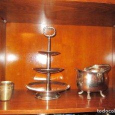 Antigüedades: FRUTERO Y OLLITA DE ALPACA. Lote 107547399