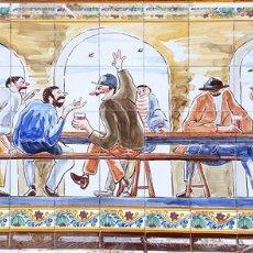 Antigüedades: ESCENA TABERNARIA. MURAL AZULEJOS. ESMALTADO A MANO. XAVIER NOGUÉS. ESPAÑA. MEDIADOS SIGLO XX.. Lote 100688247