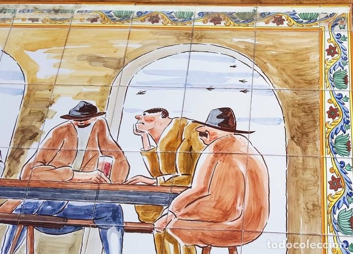 Antigüedades: ESCENA TABERNARIA. MURAL AZULEJOS. ESMALTADO A MANO. XAVIER NOGUÉS. ESPAÑA. MEDIADOS SIGLO XX. - Foto 5 - 100688247