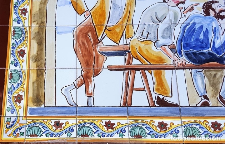 Antigüedades: ESCENA TABERNARIA. MURAL AZULEJOS. ESMALTADO A MANO. XAVIER NOGUÉS. ESPAÑA. MEDIADOS SIGLO XX. - Foto 6 - 100688247