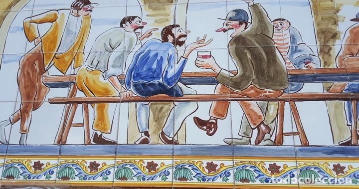 Antigüedades: ESCENA TABERNARIA. MURAL AZULEJOS. ESMALTADO A MANO. XAVIER NOGUÉS. ESPAÑA. MEDIADOS SIGLO XX. - Foto 7 - 100688247