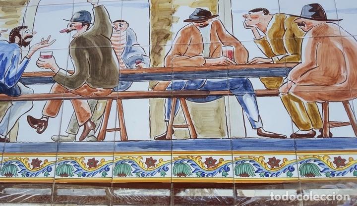 Antigüedades: ESCENA TABERNARIA. MURAL AZULEJOS. ESMALTADO A MANO. XAVIER NOGUÉS. ESPAÑA. MEDIADOS SIGLO XX. - Foto 8 - 100688247