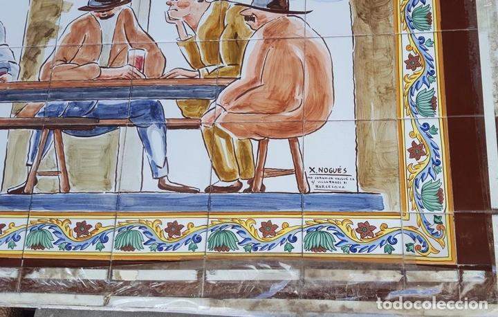 Antigüedades: ESCENA TABERNARIA. MURAL AZULEJOS. ESMALTADO A MANO. XAVIER NOGUÉS. ESPAÑA. MEDIADOS SIGLO XX. - Foto 9 - 100688247