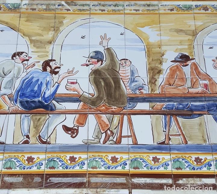 Antigüedades: ESCENA TABERNARIA. MURAL AZULEJOS. ESMALTADO A MANO. XAVIER NOGUÉS. ESPAÑA. MEDIADOS SIGLO XX. - Foto 14 - 100688247