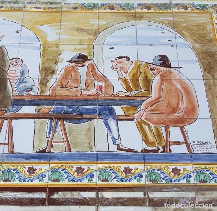 Antigüedades: ESCENA TABERNARIA. MURAL AZULEJOS. ESMALTADO A MANO. XAVIER NOGUÉS. ESPAÑA. MEDIADOS SIGLO XX. - Foto 15 - 100688247