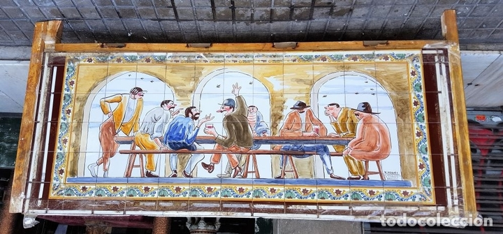Antigüedades: ESCENA TABERNARIA. MURAL AZULEJOS. ESMALTADO A MANO. XAVIER NOGUÉS. ESPAÑA. MEDIADOS SIGLO XX. - Foto 19 - 100688247