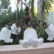 Antigüedades: LAMPARA TECHO TULIPAS. Lote 107453255