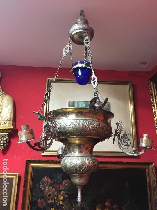 FANTASTICA LAMPARA VOTIVA DE IGLESIA SIGLO XIX - MEDIDA TOTAL 110X60 CM - RELIGIOSO - CAPILLA (Antigüedades - Religiosas - Varios)