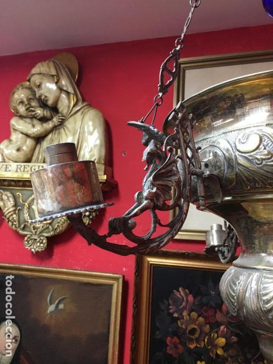 Antigüedades: FANTASTICA LAMPARA VOTIVA DE IGLESIA SIGLO XIX - MEDIDA TOTAL 110X60 CM - RELIGIOSO - CAPILLA - Foto 4 - 107586375