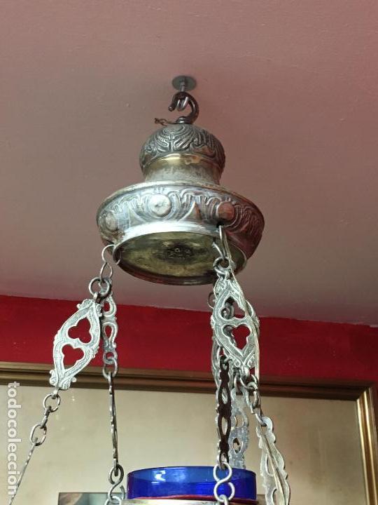 Antigüedades: FANTASTICA LAMPARA VOTIVA DE IGLESIA SIGLO XIX - MEDIDA TOTAL 110X60 CM - RELIGIOSO - CAPILLA - Foto 11 - 107586375