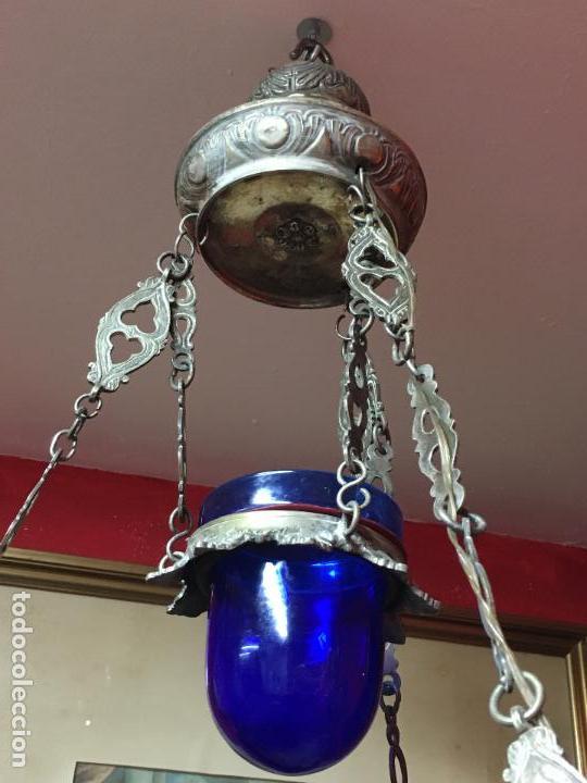 Antigüedades: FANTASTICA LAMPARA VOTIVA DE IGLESIA SIGLO XIX - MEDIDA TOTAL 110X60 CM - RELIGIOSO - CAPILLA - Foto 12 - 107586375