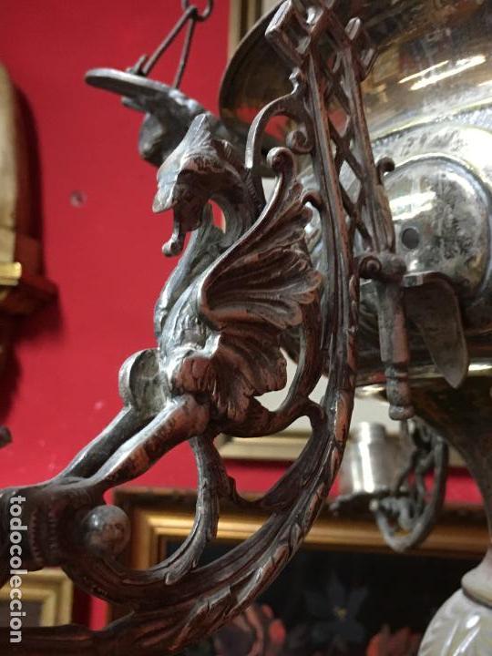 Antigüedades: FANTASTICA LAMPARA VOTIVA DE IGLESIA SIGLO XIX - MEDIDA TOTAL 110X60 CM - RELIGIOSO - CAPILLA - Foto 14 - 107586375