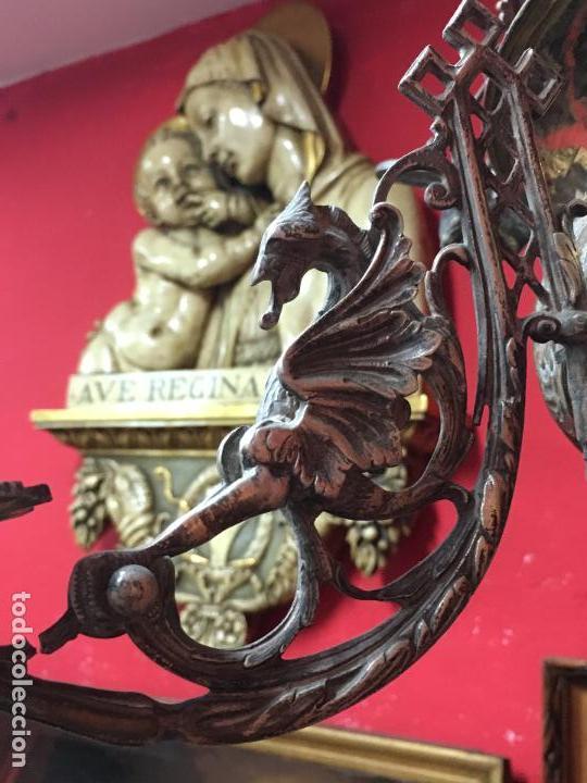 Antigüedades: FANTASTICA LAMPARA VOTIVA DE IGLESIA SIGLO XIX - MEDIDA TOTAL 110X60 CM - RELIGIOSO - CAPILLA - Foto 15 - 107586375