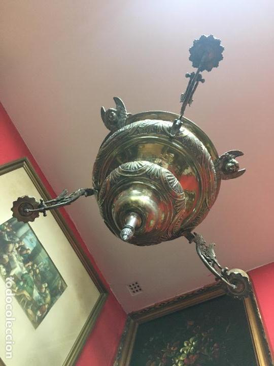 Antigüedades: FANTASTICA LAMPARA VOTIVA DE IGLESIA SIGLO XIX - MEDIDA TOTAL 110X60 CM - RELIGIOSO - CAPILLA - Foto 18 - 107586375