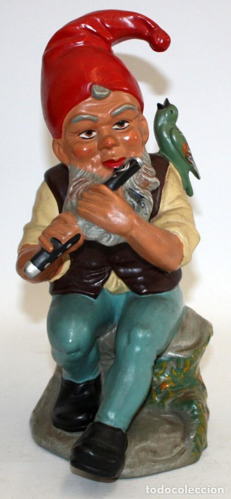 FIGURA DE GNOMO EN TERRACOTA PINTADA. MANUFACTURA ALEMANA (HEISSNER GERMANY) (Antigüedades - Porcelana y Cerámica - Alemana - Meissen)