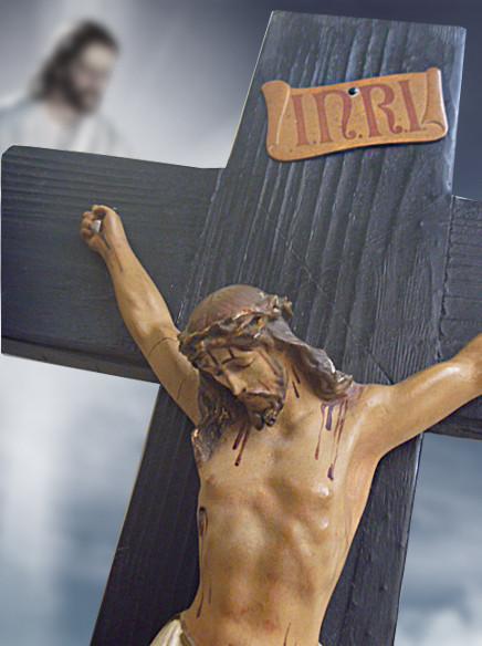 GRAN CRUCIFIJO CON CRISTO DE YESO-ESCAYOLA (Antigüedades - Religiosas - Crucifijos Antiguos)