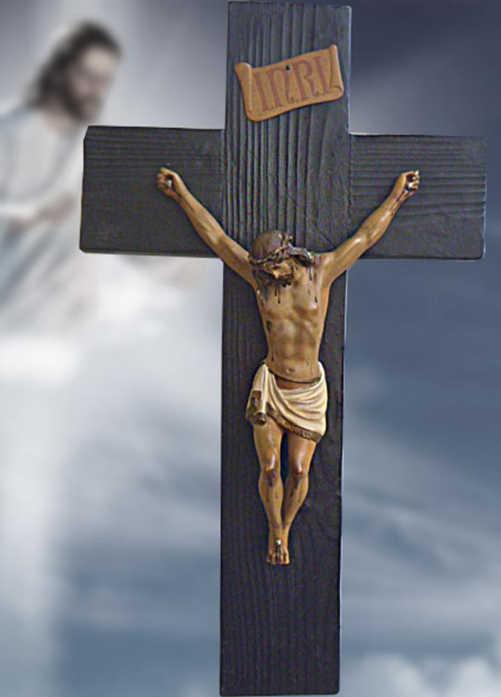 Antigüedades: Gran crucifijo con Cristo de yeso-escayola - Foto 2 - 103882547