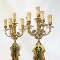 Antigüedades: EXCEPCIONAL PAREJA ANTIGUA DE CANDELABROS FRANCESES ESTILO NAPOLEON III ELECTRIFICADOS LAMPARA. Lote 107688527