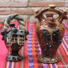 Antigüedades: LOTE DE DOS BOTIJOS EN CERAMICA VIDRIADA DE CUENCA - DIBUJOS A LA BORBOTINA.. Lote 107690867