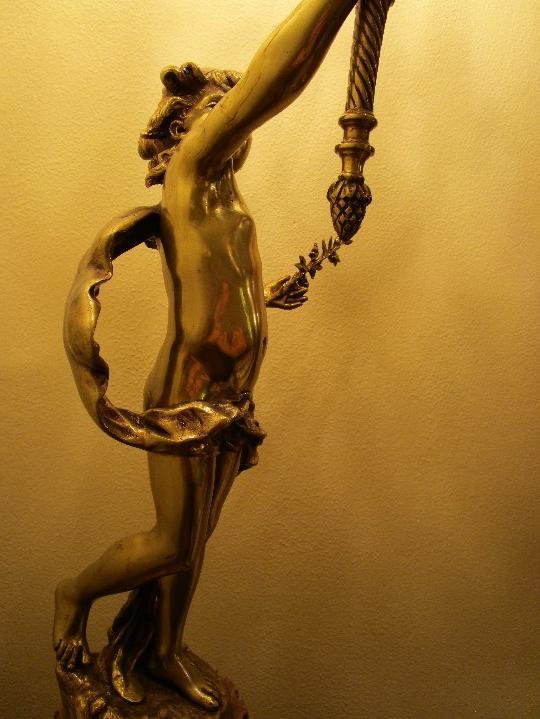 Antigüedades: LAMPARA DE PIE EN BRONCE Y MARMOL ( grande y muy pesada) - Foto 12 - 102460515