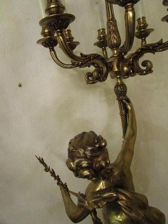 Antigüedades: LAMPARA DE PIE EN BRONCE Y MARMOL ( grande y muy pesada) - Foto 9 - 102460515