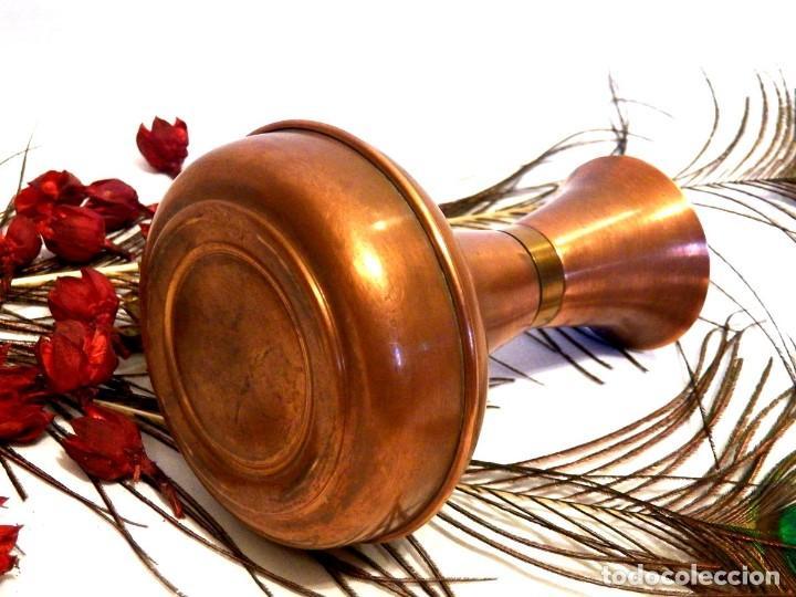 Antigüedades: Florero, decoración rústica, florero de cobre, jarrón cobre, Años 60 - Foto 5 - 107711179
