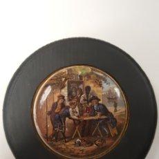 Antigüedades: THE BATTLE OF THENILLE. ANTIGUA TAPA INGLESA DE PORCELANA ORIGINARIAMENTE PARA BOTES. ENMARCADA. Lote 107715859
