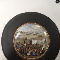 Antigüedades: RIFLE CONTEST WIMBLEDON 1865.ANTIGUA TAPA INGLESA DE PORCELANA ORIGINARIAMENTE PARA BOTES. ENMARCADA. Lote 107716475