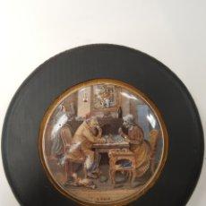 Antigüedades: A PAIR. ANTIGUA TAPA INGLESA DE PORCELANA ORIGINARIAMENTE PARA BOTES. ENMARCADA. Lote 107716728