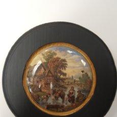 Antigüedades: PAISAJE. ANTIGUA TAPA INGLESA DE PORCELANA . ENMARCADA. Lote 107718356
