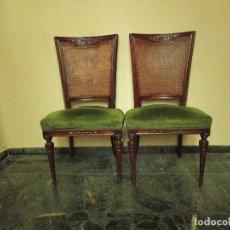 Antigüedades: SEIS SILLAS DE COMEDOR RESPALDO EN REJILLA. Lote 107744059