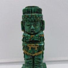 Antigüedades: ESCULTURA ANTIGUA EN SÍMI DE PIEDRA VERDE ANTROPOMORFA DE ATLANTE DE LA CULTURA TOLTECA.. Lote 107752651