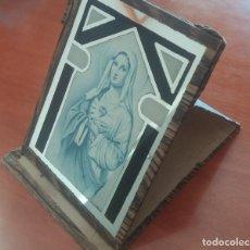 Antigüedades: ANTIGUA IMAGEN DEL SAGRADO CORAZÓN DE MARÍA DE SOBREMESA SOBRE ESPEJO. Lote 95986923