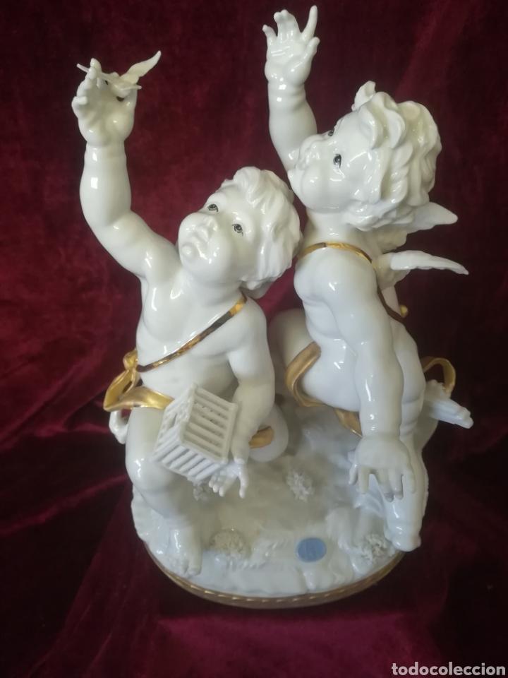 Antigüedades: Grupo ángeles porcelana algora - Foto 2 - 107772538