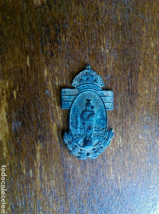 ANTIGUA PLACA ADORNO VIRGEN DEL PILAR ZARAGOZA (Antigüedades - Religiosas - Varios)
